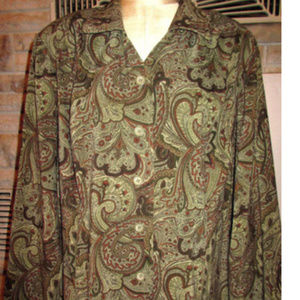 REQUIREMENTS 2X BUTTON DOWN SHIRT LONG SLV PAISLEY
